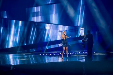 "Lidia Isac representing Moldova with the song ""Falling Stars"" during a rehearsal before the first semi final of the Eurovision Song Contest 2016 in Stockholm."