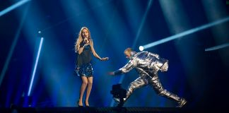 """Lidia Isac representing Moldova with the song """"Falling Stars"""" during a rehearsal before the first semi final of the Eurovision Song Contest 2016 in Stockholm"""