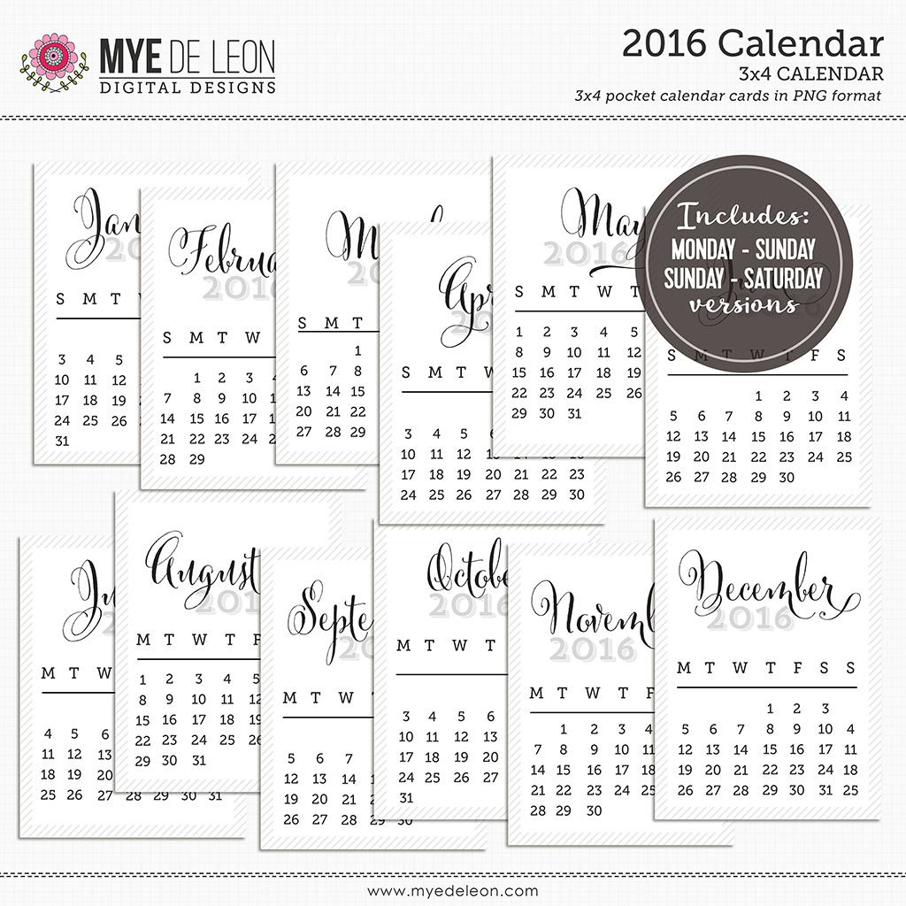 2016 FREE Calendars for Project Life