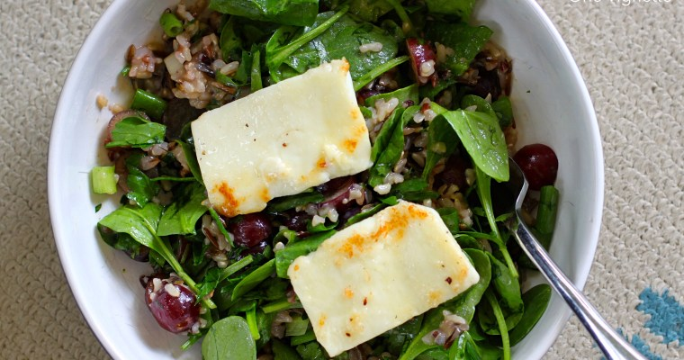 """""""Wine Country"""" Spinach Salad with Wild Rice Grape Pilaf and Halloumi"""