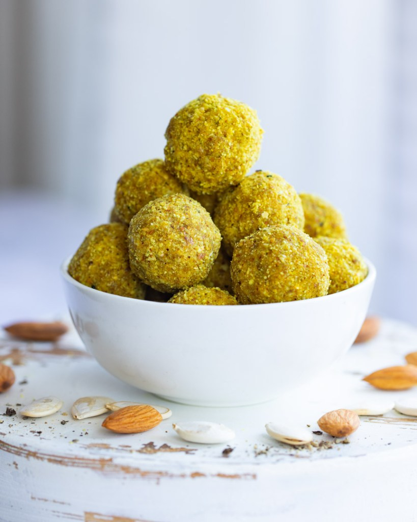 Immunity Boosting Almond Turmeric Bliss Balls inspired by Luke Coutinho