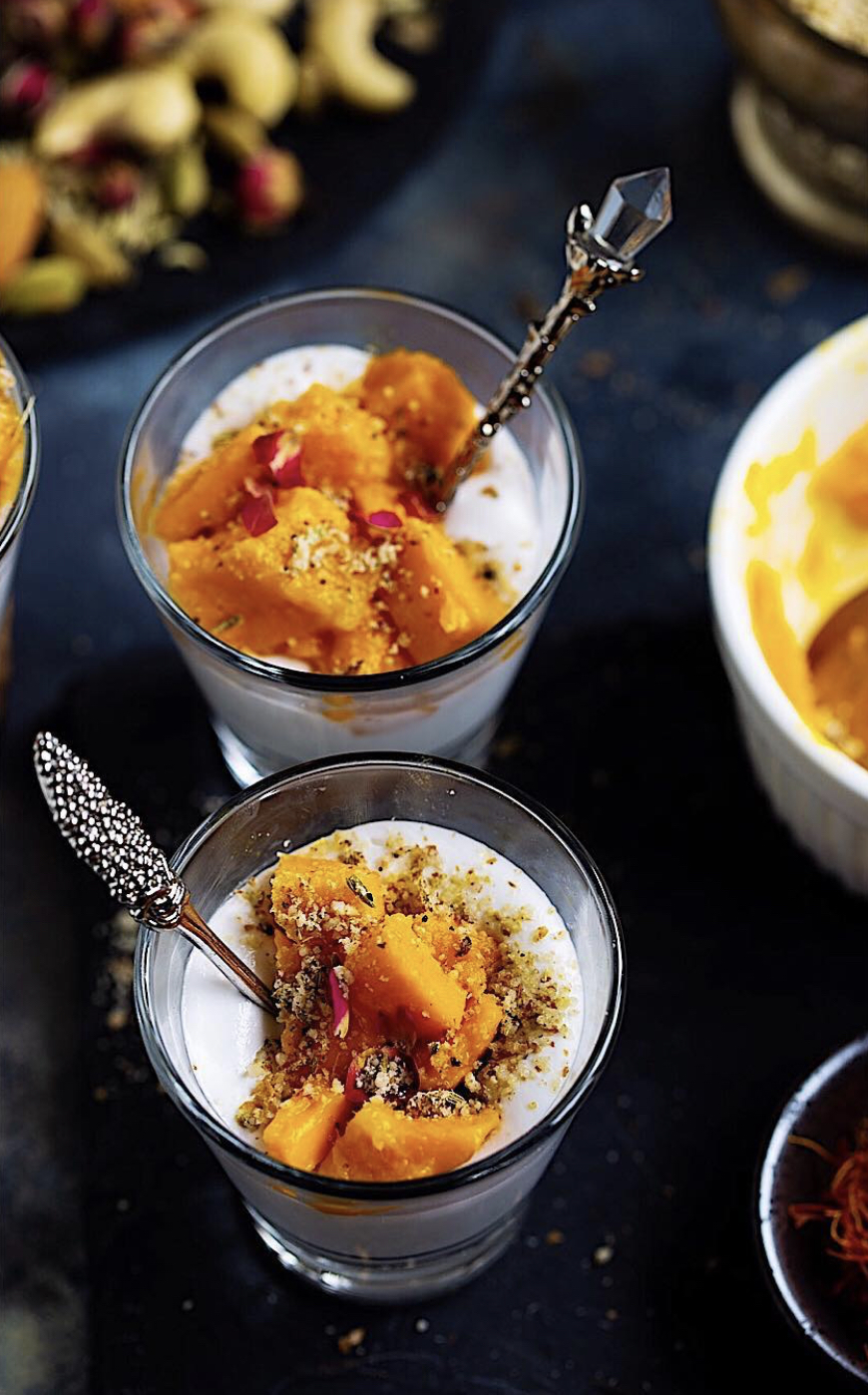 Vegan Dessert with Mango and Coconut Cream