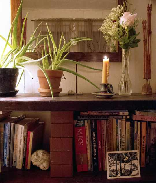 Bookshelf with candle