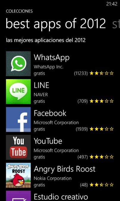 Best Apps 2012 WP8