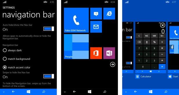 Ajustes de la barra de navegación en Windows Phone 8.1