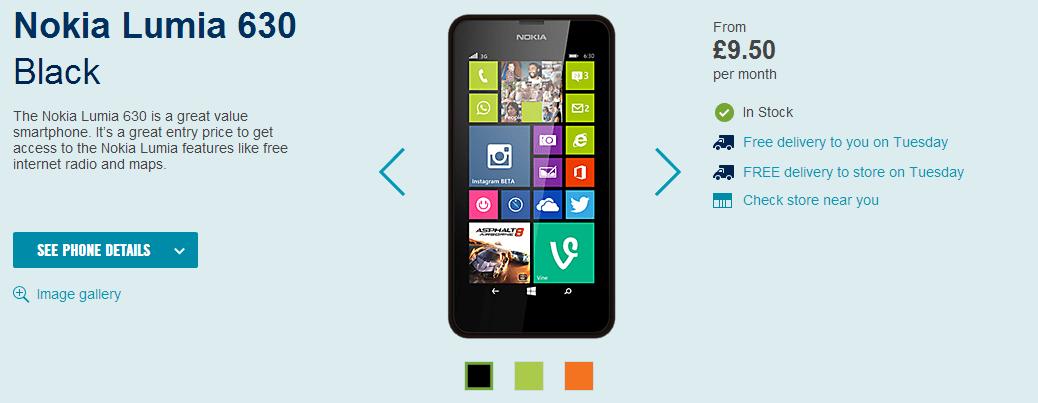 Nokia Lumia 630 ya a la venta en Reino Unido