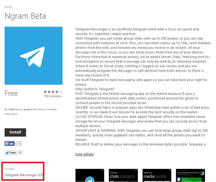 Ngram se convierte en el cliente oficial de Telegram para Windows Phone