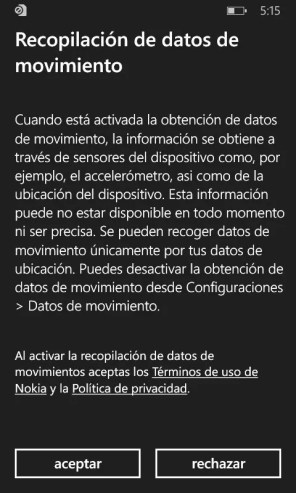 Lumia Cyan datos de movimiento
