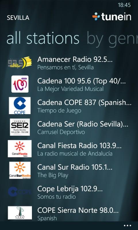 TuneIn Radio Locales