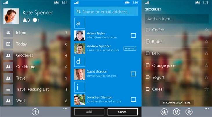 Wunderlist Beta para Windows Phone