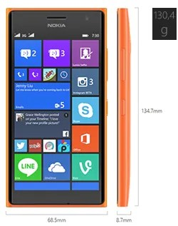 Dimensiones del Nokia Lumia 730