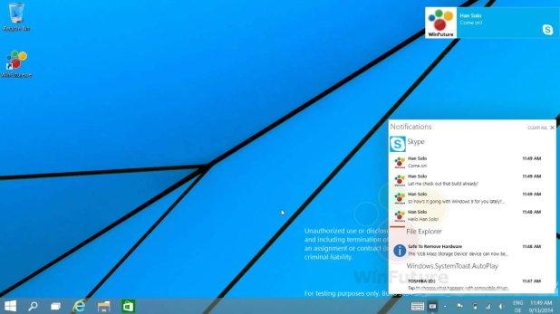 Escritorio de Windows 9 con el centro de notificaciones abierto