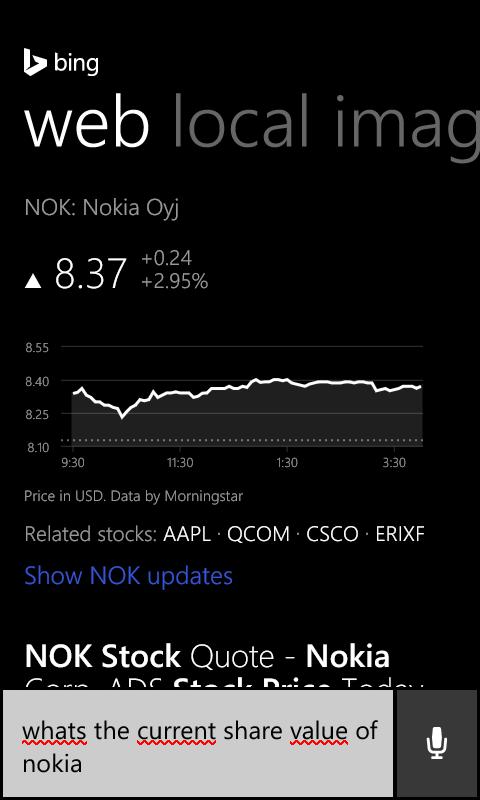 Cortana Nokia Share Value