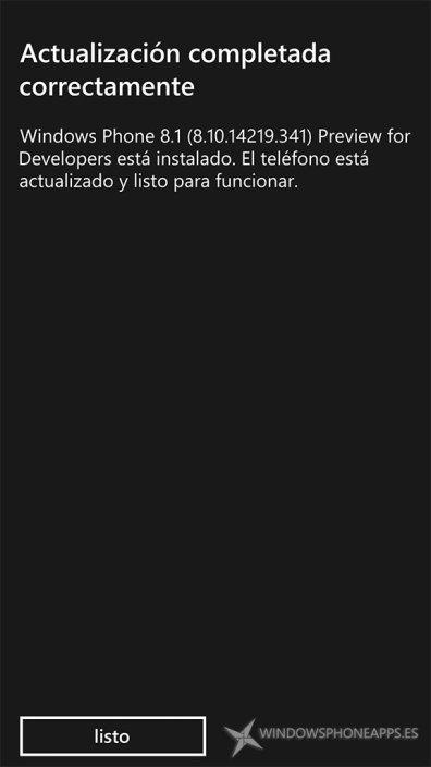 Actualización de la PFD que incluye Cortana en español instalada