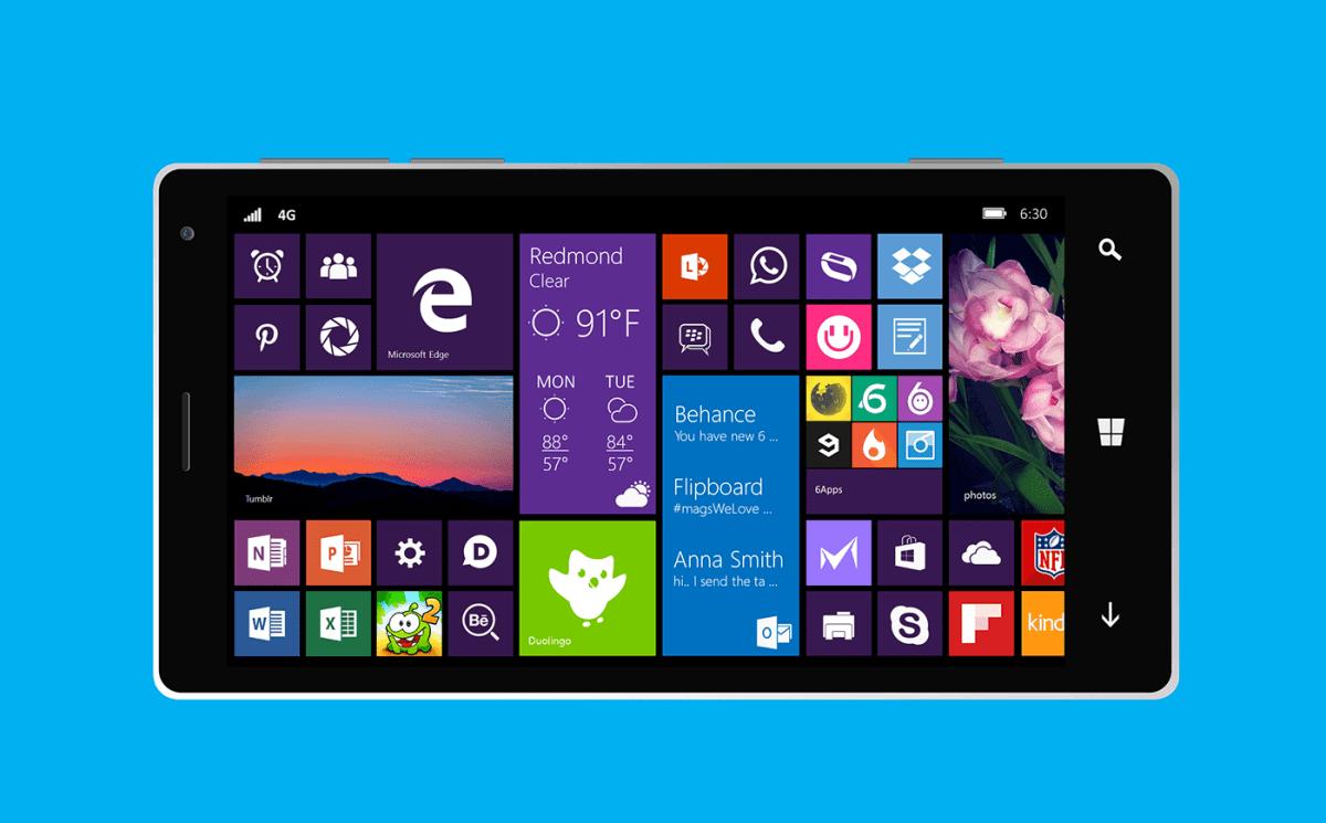 Windows 10 mobile concepto horizontal