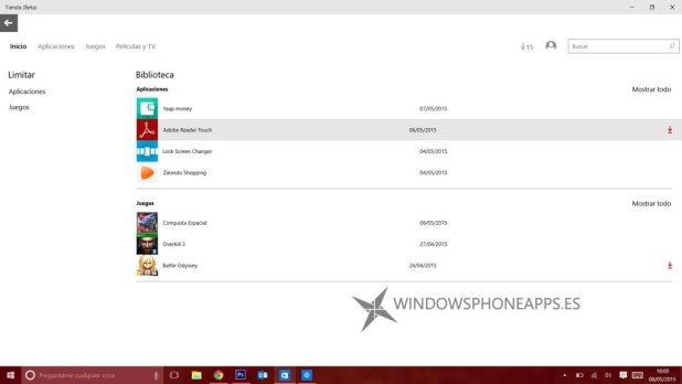 tienda beta windows 10 biblioteca