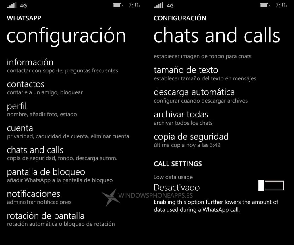 configuracion llamadas whatsapp