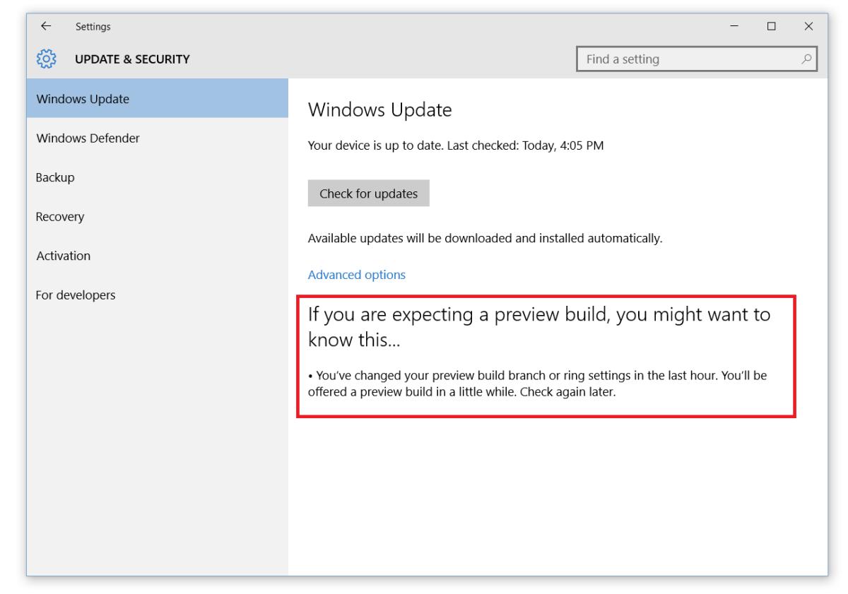 mensaje de ajustes Build 10547