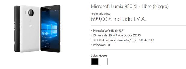 precio lumia 950 xl
