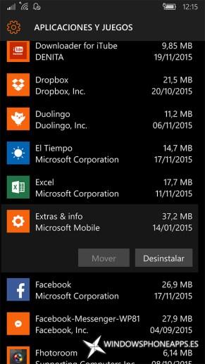 Extras e información en Almacenamiento de Windows 10 Mobile