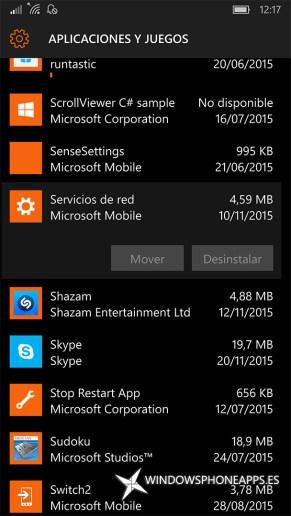 Servicios de red en Almacenamiento de Windows 10 Mobile