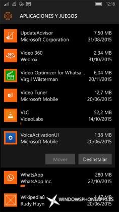 activación por voz en Almacenamiento de Windows 10 Mobile