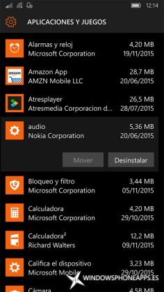 audio en Almacenamiento de Windows 10 Mobile