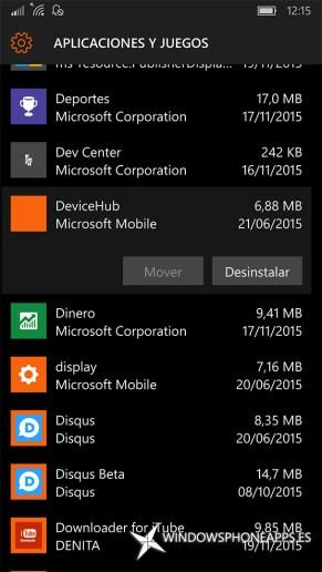 hub de dispositivos en Almacenamiento de Windows 10 Mobile