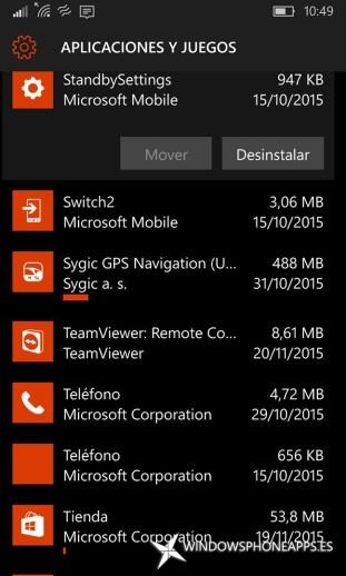 pantalla de vista rápida en Almacenamiento de Windows 10 Mobile