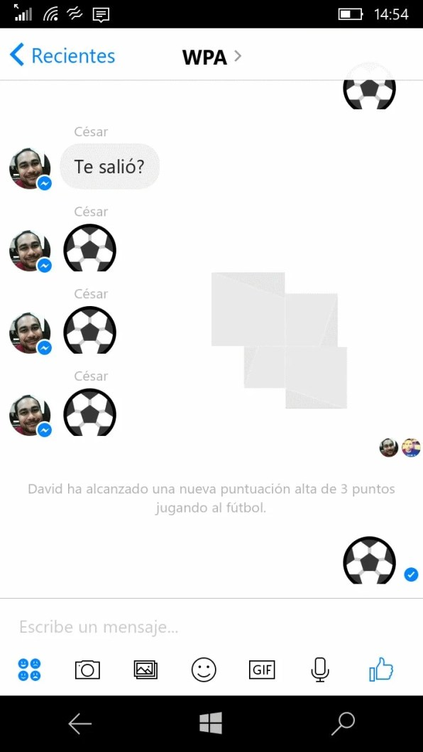 Messenger Beta Juego Futbol 1