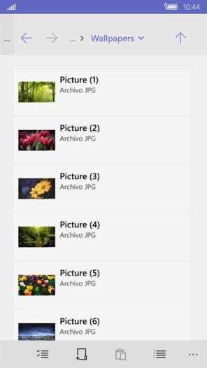 Gestor de Archivos Windows 10 Mobile 1