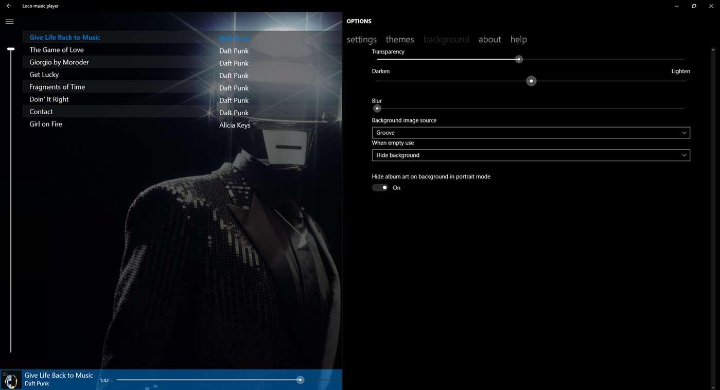 Loco music player delight, nueva versión gratuita para Windows 10 Mobile y PC