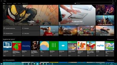 Tienda de Windows 10 con primeros detalles de Fluent Design con el tema oscuro