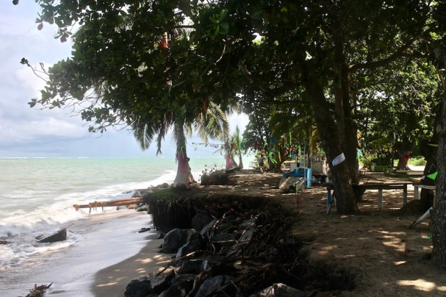 The beachfront is the community gathering space in Loiza, but now there is significant erosion here, with a 5- to 7-foot vertical drop off from the sidewalk to the beach. (Janice Cantieri/MEDILL)