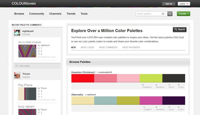Colourlovers Color Palette Gallery