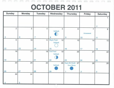 October 2011 Lunar Calendar — One Yahweh