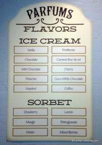 Carte des goûts proposés