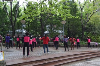 I took a morning walk through the park and encountered a lot of people doing group exercises.