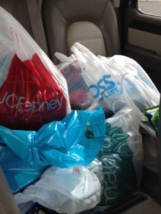 Shopping. To celebrate our success with finishing Insanity, Carly and I went on a major shopping trip. I have never bought so much clothes at once.