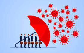 An image of office workers under an umbrella protecting them from cartoon virions