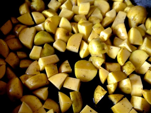 potatoes prepped for roasting