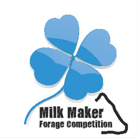 Blue clover logo with a thin black line of a cow head silouhette that says Milk make forage Competition
