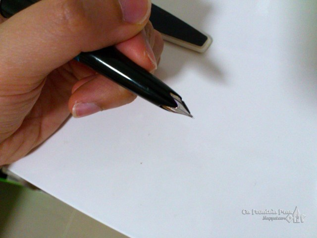 The wing nib, ready to fly across the page.