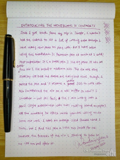 Et voila! Another of my handwritten first impressions, this time of the MB31