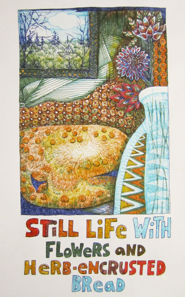04 - Still Life with Flowers & Herb-Encrusted Bread-Fountain Pen on Mixed Media Paper