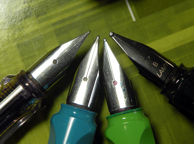 From left to right, we have Lamy EF, F, M, and B size nibs. Not pictured are the also available 1.1mm, 1.5mm, and 1.9 mm calligraphy nibs