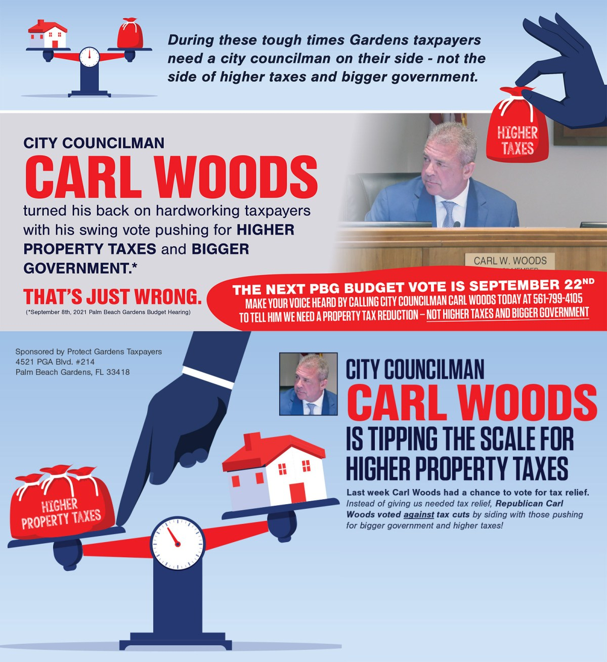 Political consultant sent attack ads over Woods' tax vote