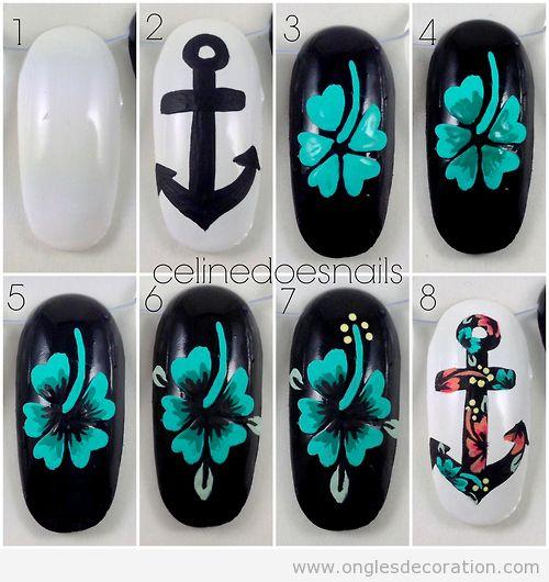 Comment dessiner une fleur et une ancre sur les ongles - Dessiner une ancre marine ...