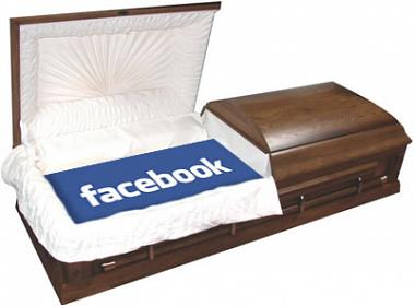 Facebook logo in a coffin