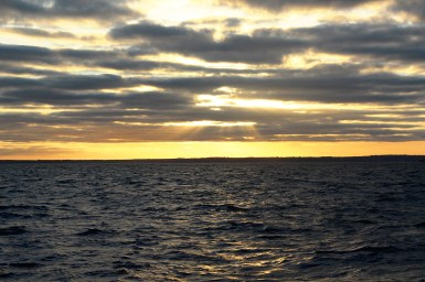 Sunset over the Lizard peninsula on the way to Scilly, 2016